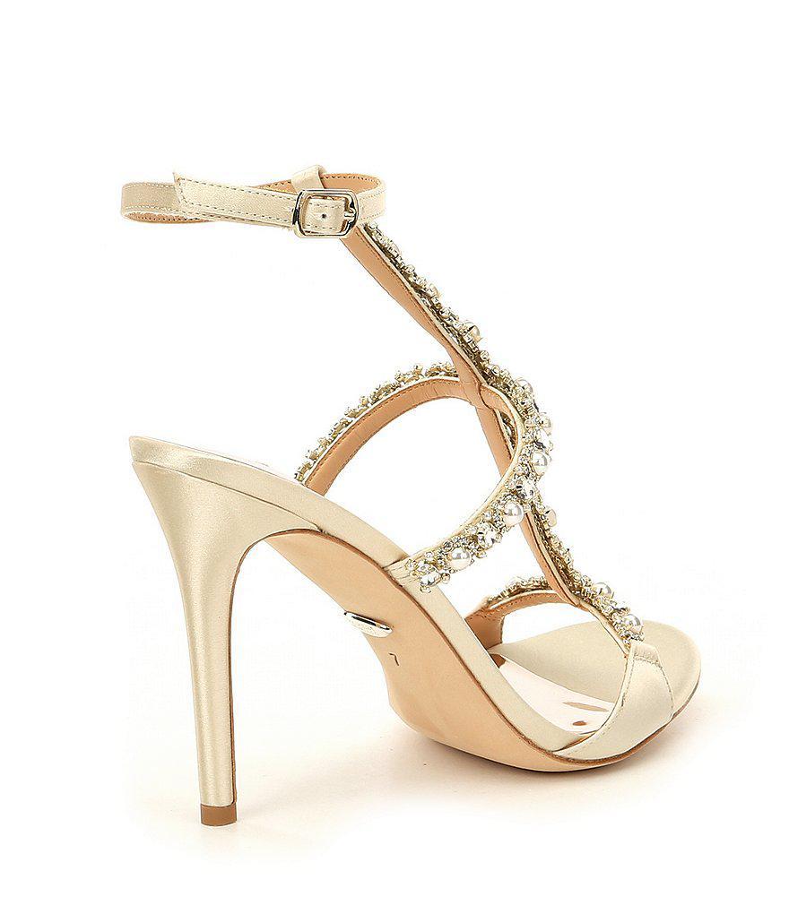 Badgley Mischka Yuliana Metallic Satin Jeweled Strappy Dress Sandals 0QMM80VXG