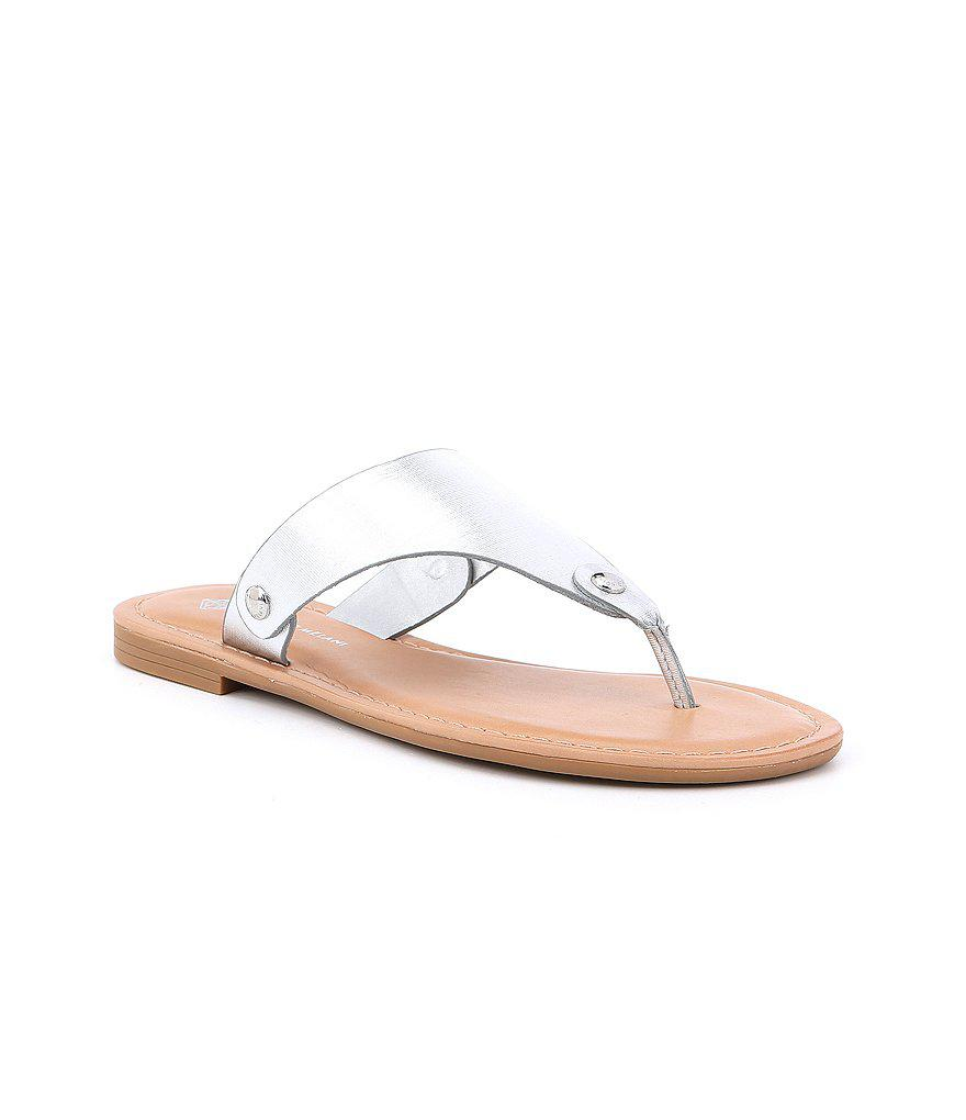 e7e66d674430 Lyst - Antonio Melani Lennore Leather Thong Sandals in Metallic