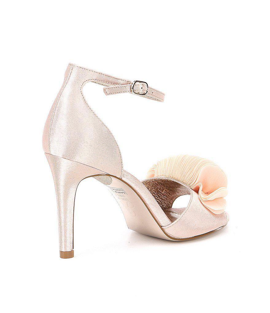 Gracie Satin Petal Ornament Ankle Strap Dress Sandals UTog5kd21