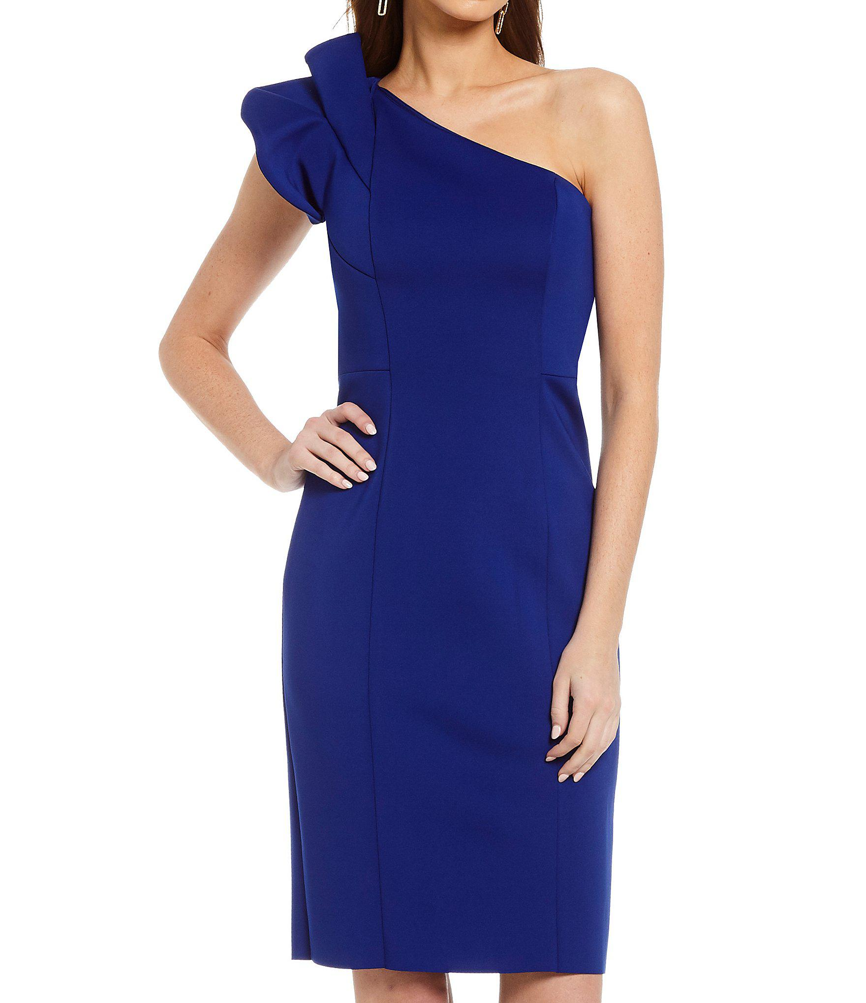 3ab7eb70a2c Lyst - Vince Camuto One Shoulder Drama Sleeve Dress in Blue