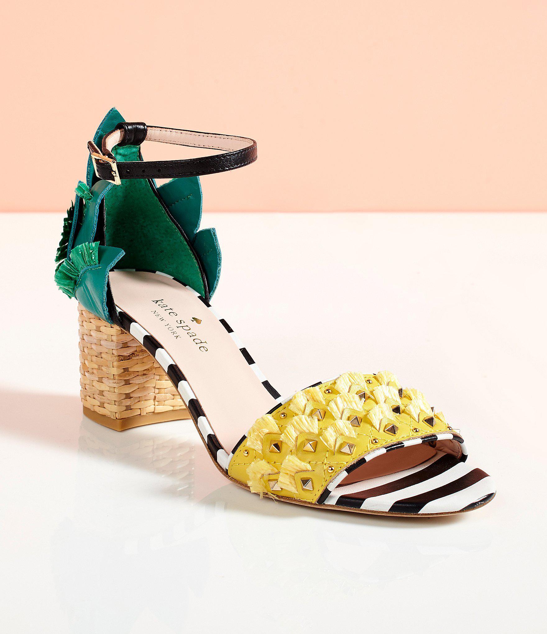 e023550e016f Lyst - Kate Spade Wiatt Leather Studded Pineapple Stripe Block Heel ...