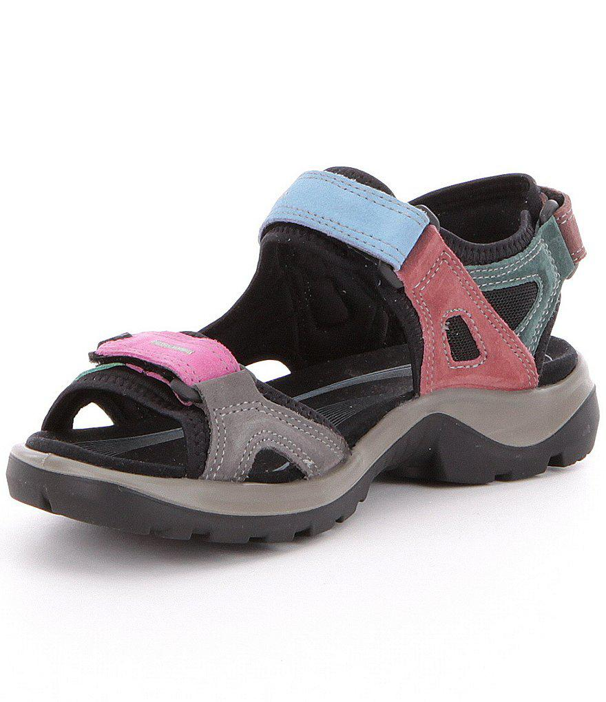 ECCO Women's Yucatan Offroad Multi Colored Banded Outdoor Sandals uofMYkV