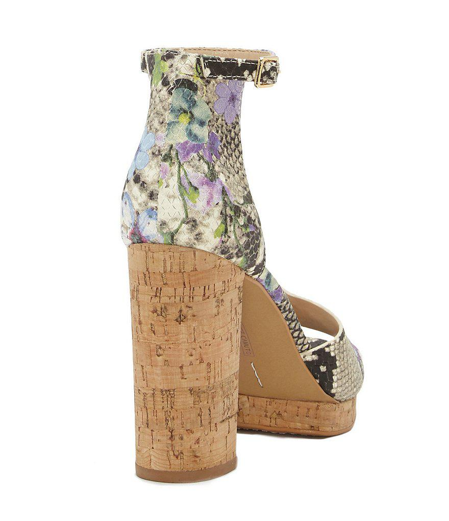 Vince Camuto Ciestie Snake Print Leather Cork Ankle Strap Block Heel Dress Sandals Z8973