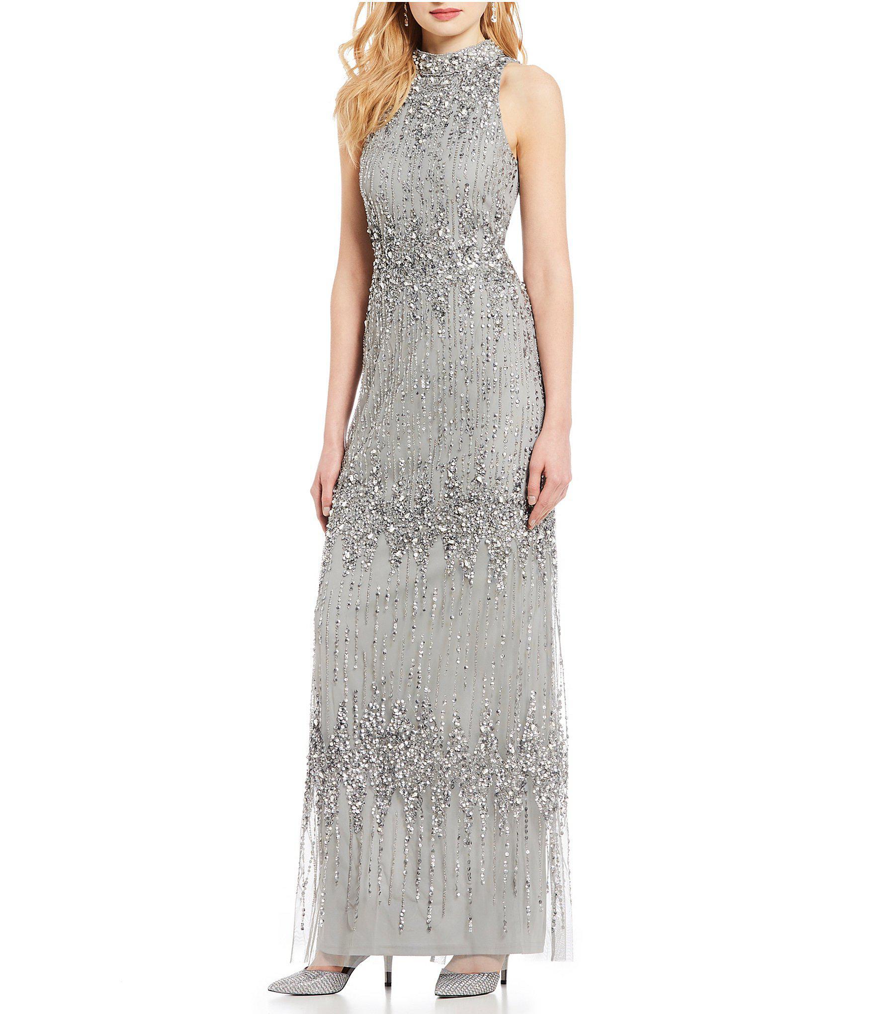 37eb218c9cf Adrianna Papell. Women s Petite Size Beaded Halter Sleeveless Column Gown