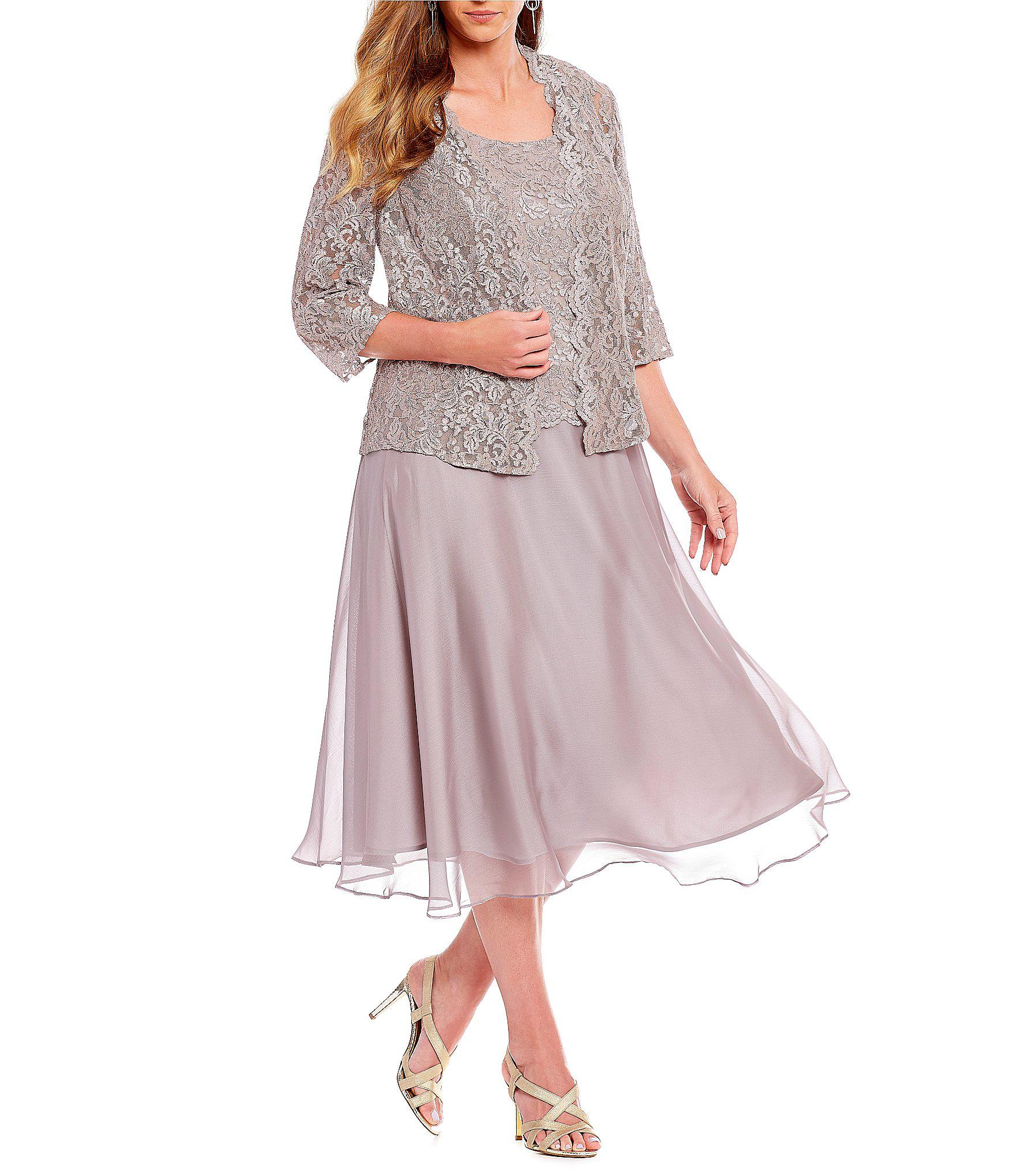 8b9b81b7c26 Lyst - Alex Evenings Plus Size Midi Length Lace Mock Jacket Dress
