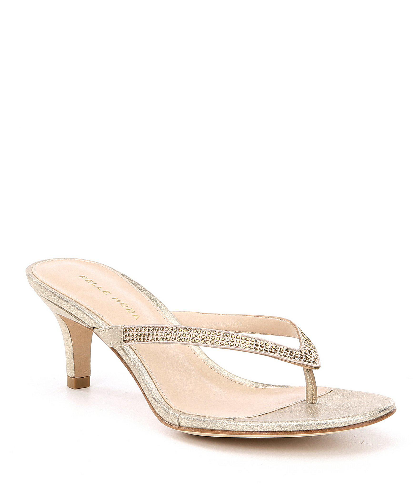 4063f51c254 Lyst - Pelle Moda Effi Satin And Leather Rhinestone Detail Dress Sandals