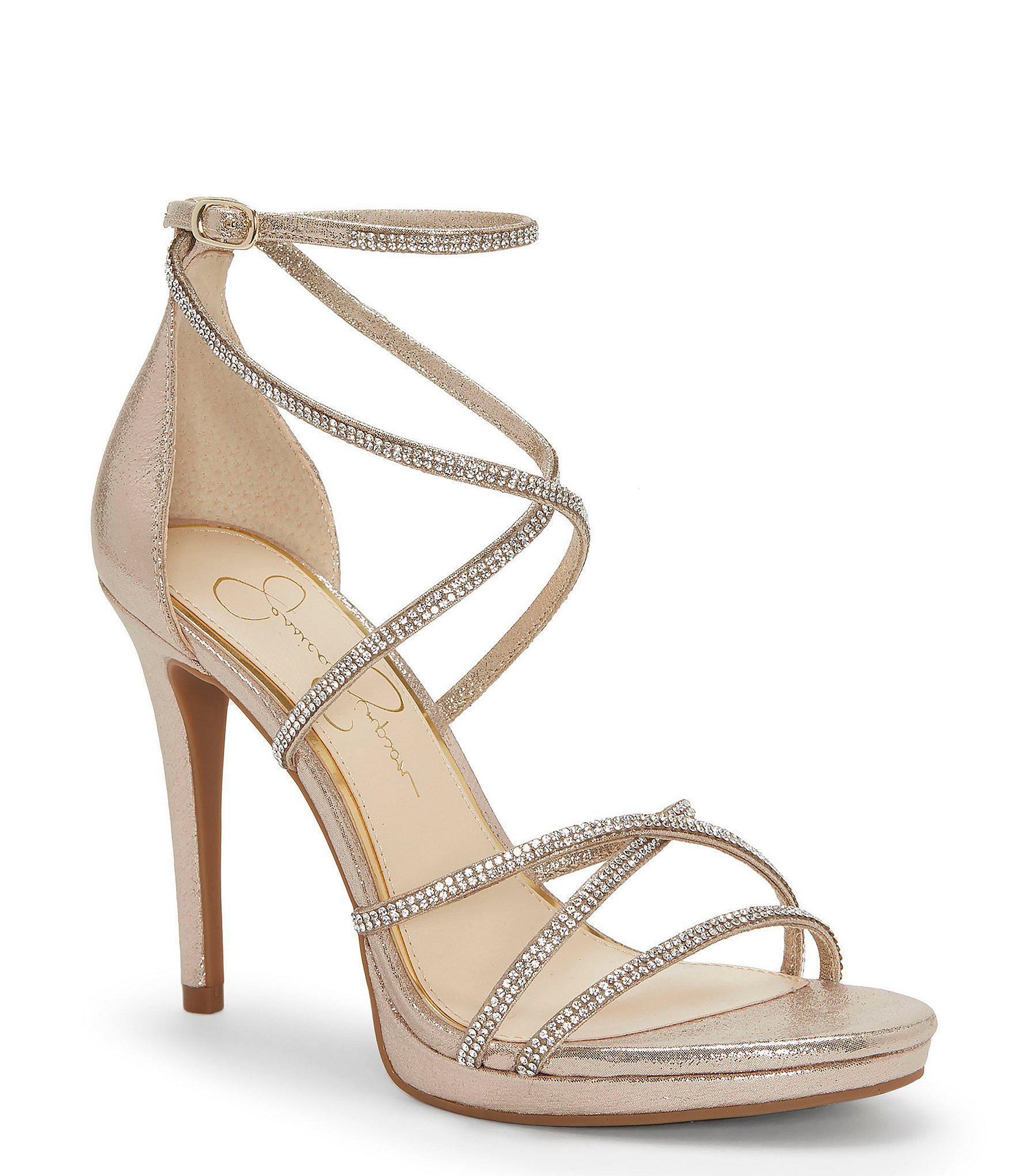 da8ee29f4040 Jessica Simpson. Women s Metallic Jaeya Rhinestone Strappy Dress Sandals