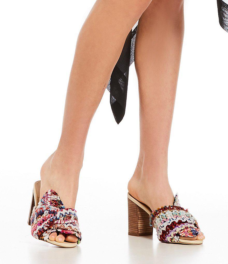 Sam Edelman Oda Chevron Yarn Weave Bow Detail Block Heel Mules 8q9jtvwy