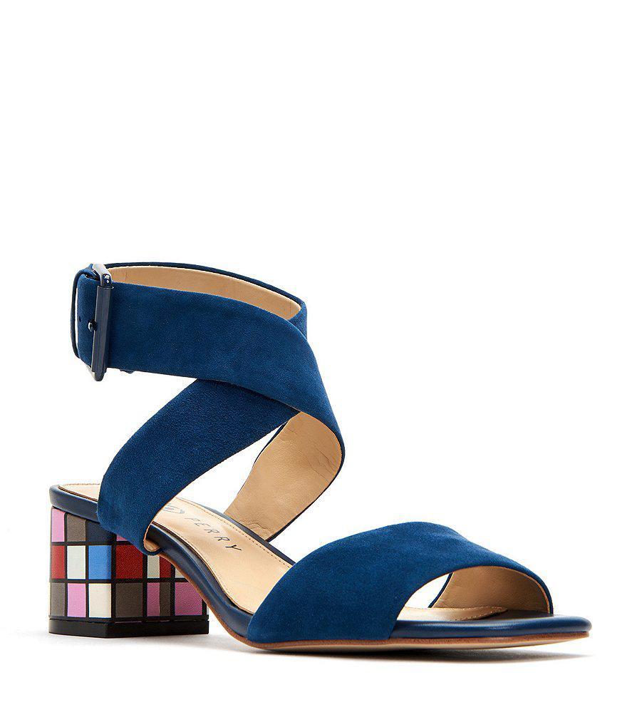 The Margot Suede Ankle Strap Block Heel Sandals AORYYUaDcv