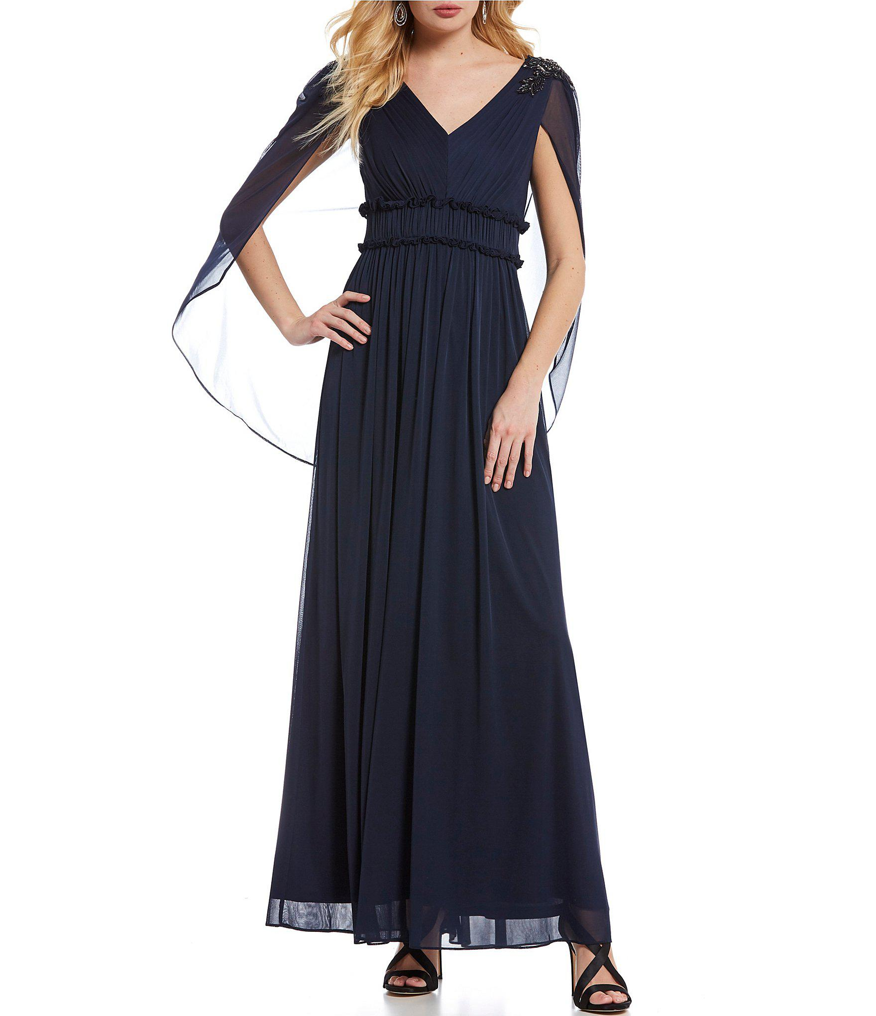 e19947ac4534c Lyst - Adrianna Papell Chiffon Beaded Shoulder Capelet Gown in Blue