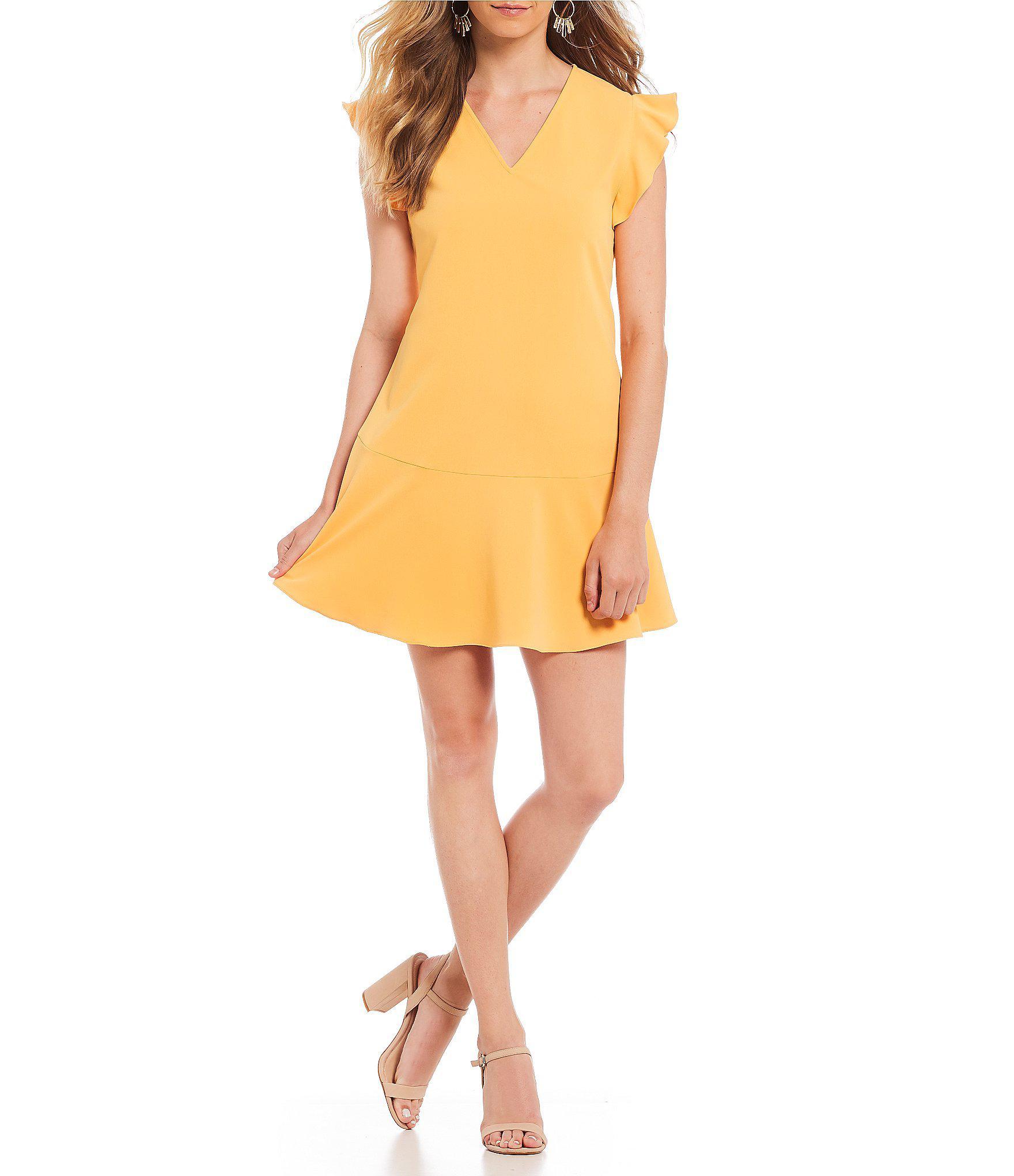 e3f9de5d72 Lyst - Gianni Bini Emily Ruffle Sleeve Shift Dress in Yellow