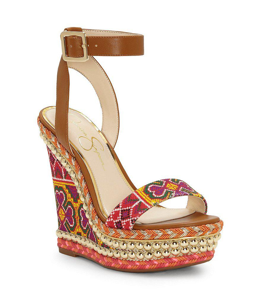 Jessica Simpson. Women's Red Alinda Print Braided Detail Ankle Strap Wedge  Sandals