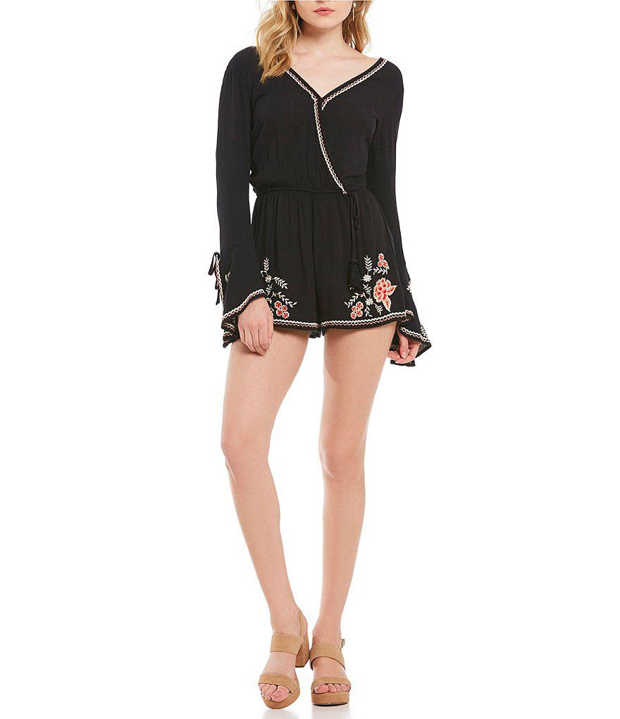 792ea1e4d3d1 Lyst - Band Of Gypsies Floral Embroidered Romper in Black