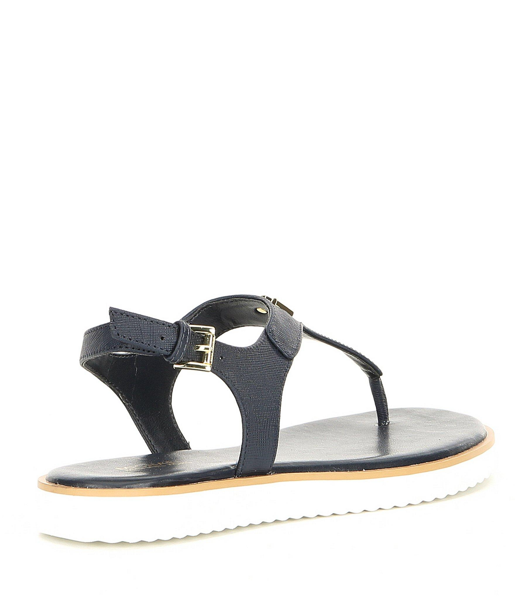 4ce78f35f2938d Lyst - MICHAEL Michael Kors Brady Saffiano Leather Thong Sandals in Blue