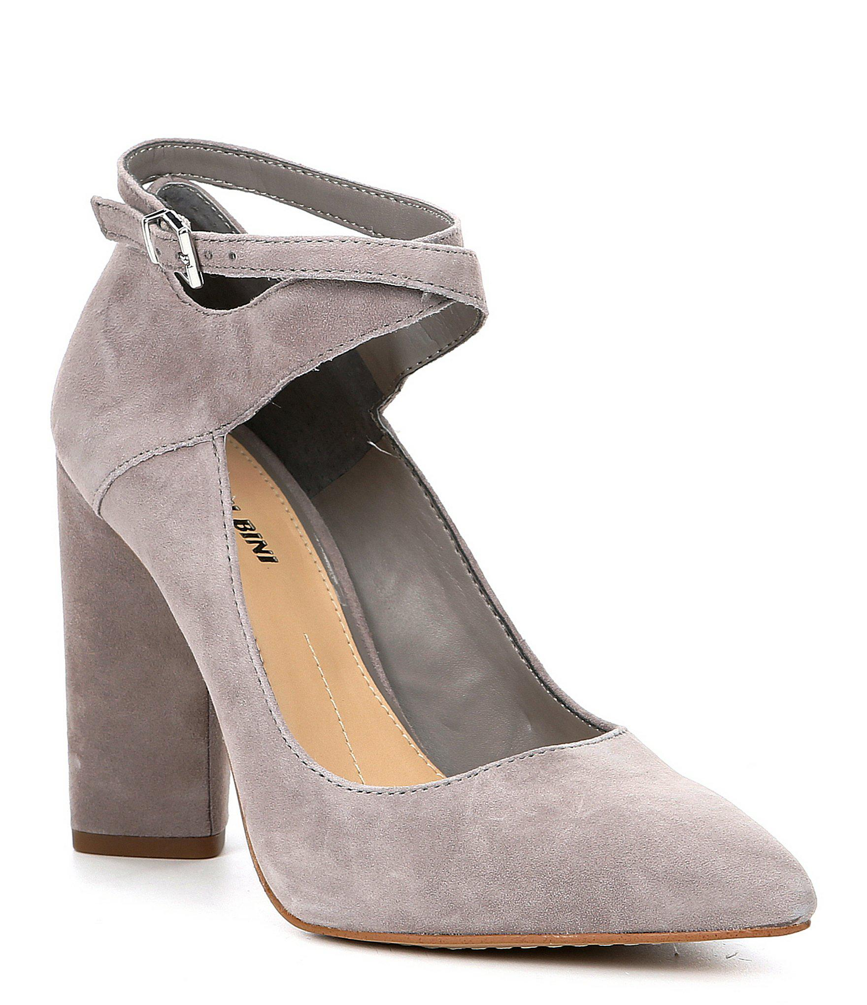 1cd06243ed47 Lyst - Gianni Bini Sharees Suede Ankle Wrap Pumps in Gray