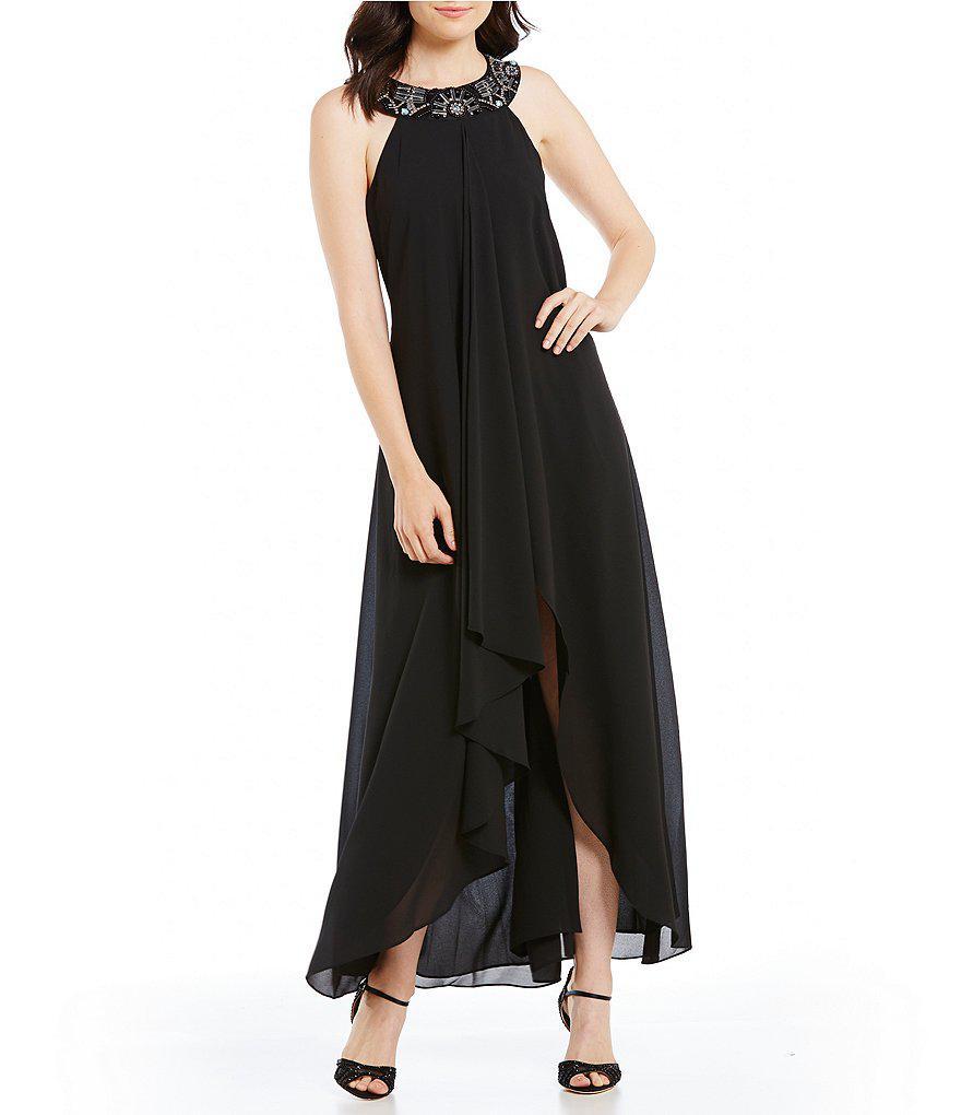 c7420bb5524 Lyst - Belle By Badgley Mischka Selena Beaded Halter Neck Dress in Black