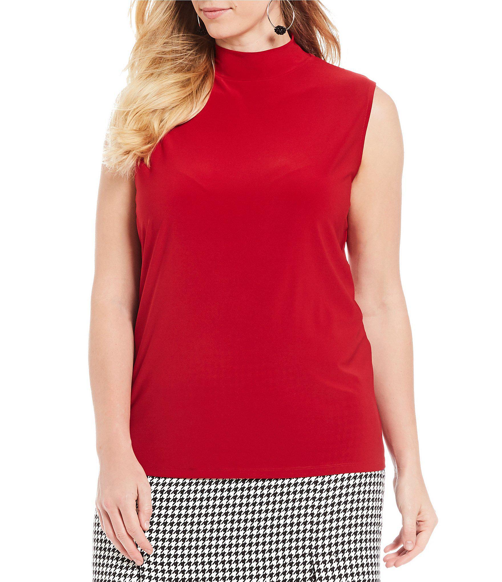 8b3fd3c3510 Lyst - Kasper Plus Size Mock Neck Sleeveless Matte Jersey Top in Red