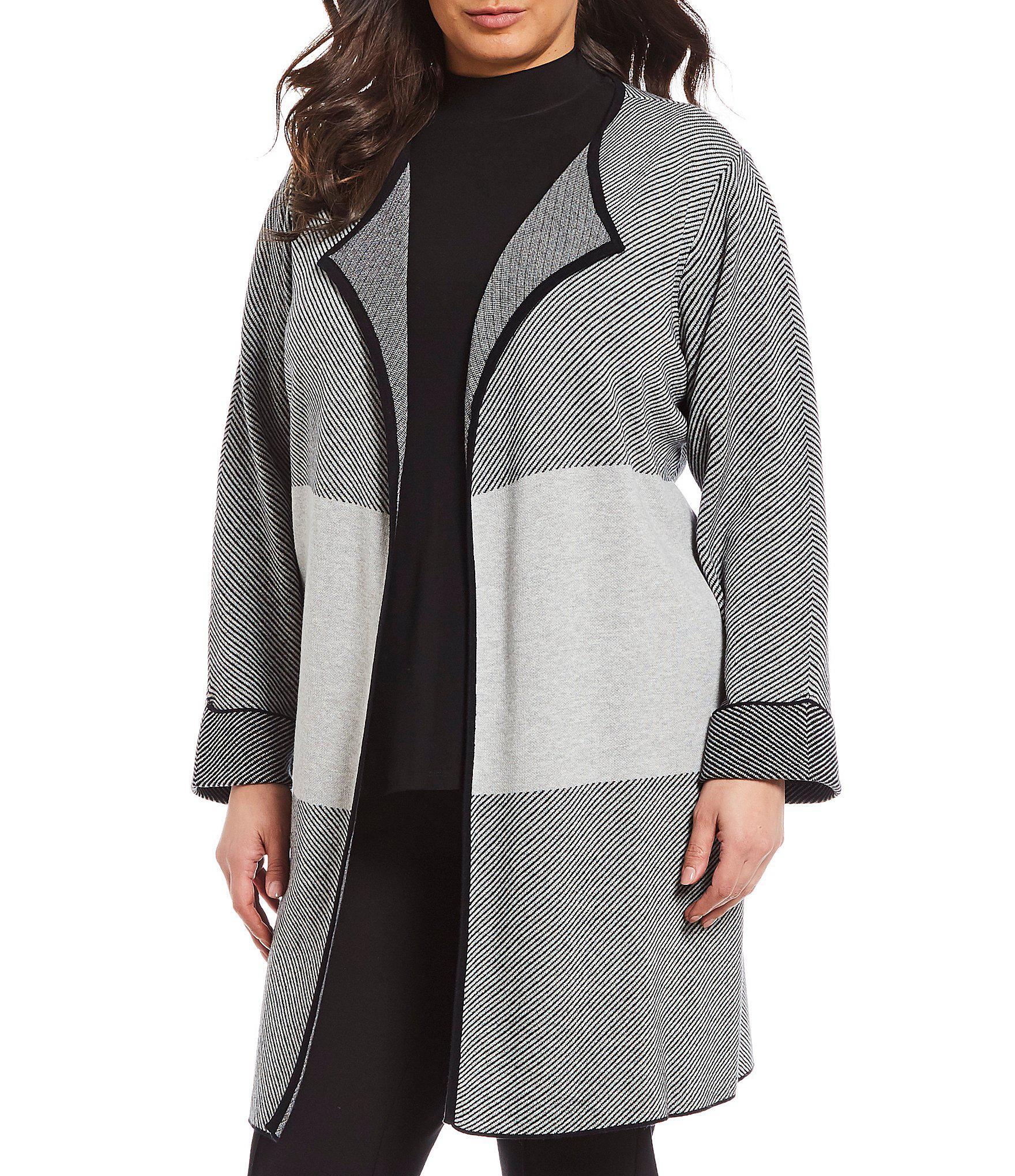 2f07660ceb Lyst - Kasper Plus Size Roll Cuff Long Open Front Cardigan in Gray