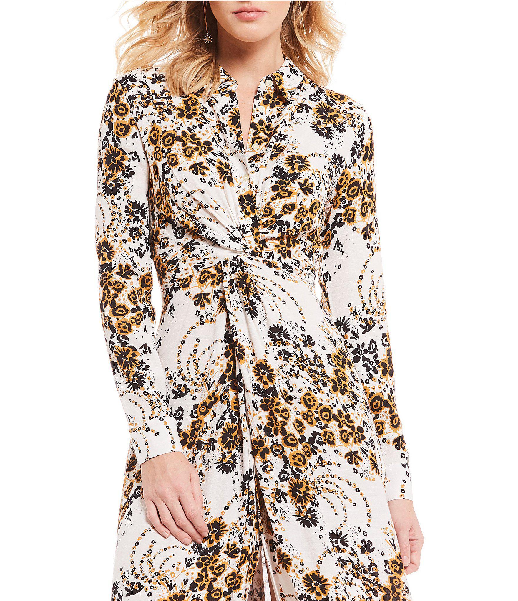 def22b4358f0 Lyst - Free People Tough Love Floral Print Midi Length Shirt Dress ...