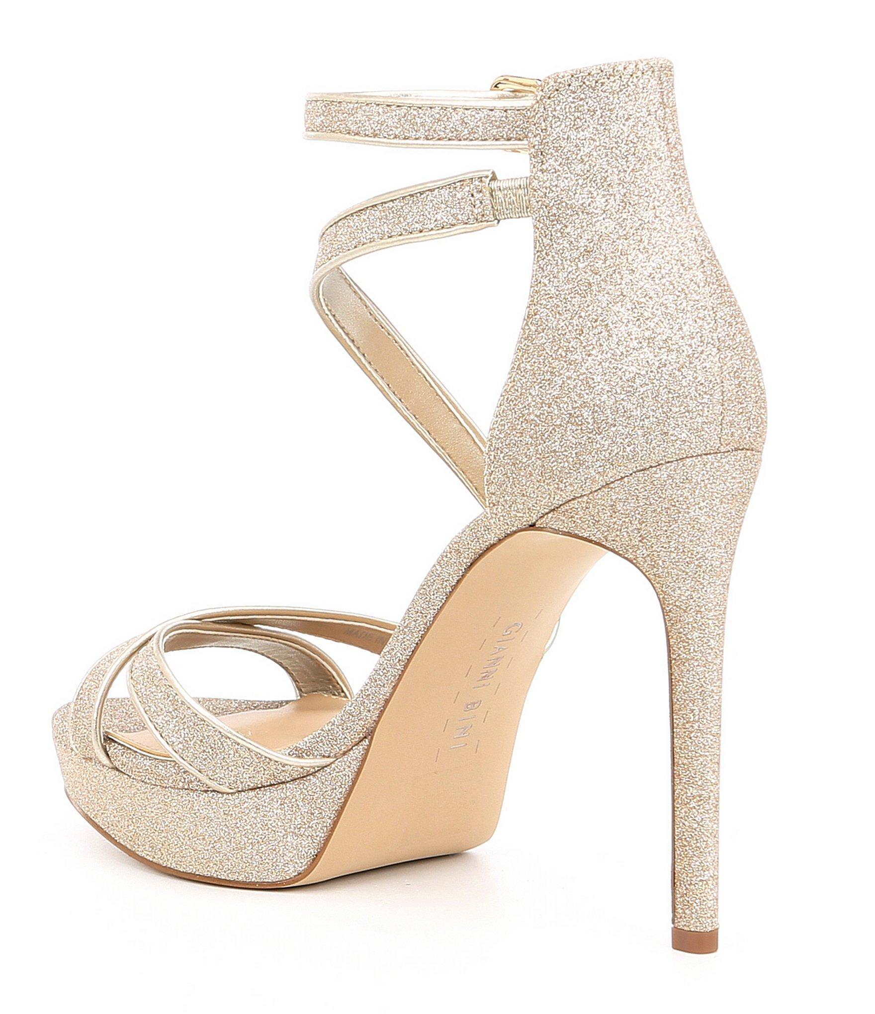 8c1c8c644e0 Gianni Bini - Metallic Corielle Glitter Strappy Platform Sandals - Lyst.  View fullscreen