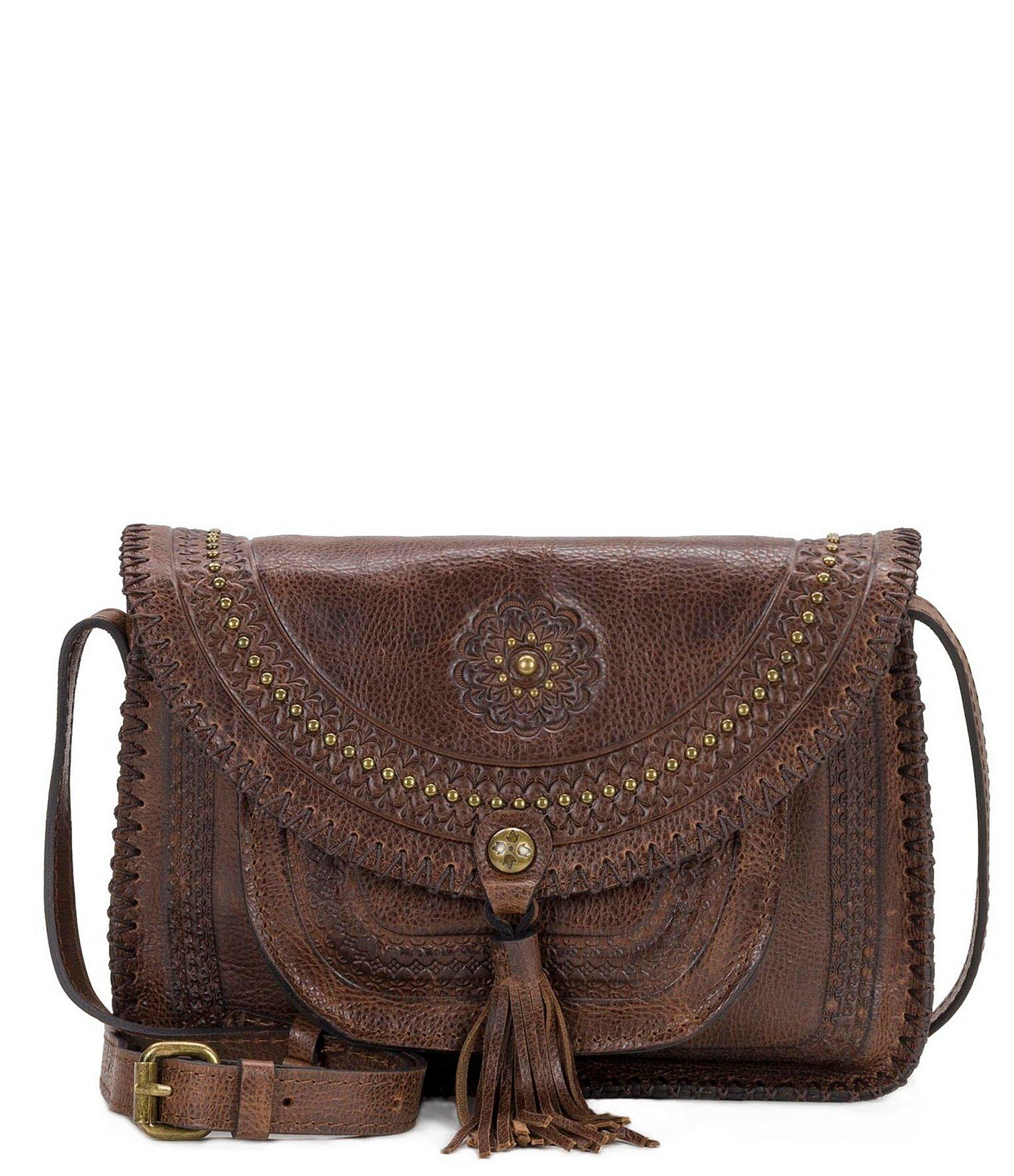 76b8848e9f Patricia Nash. Women s Brown Distressed Vintage Collection Beaumont  Tasseled Cross-body Bag