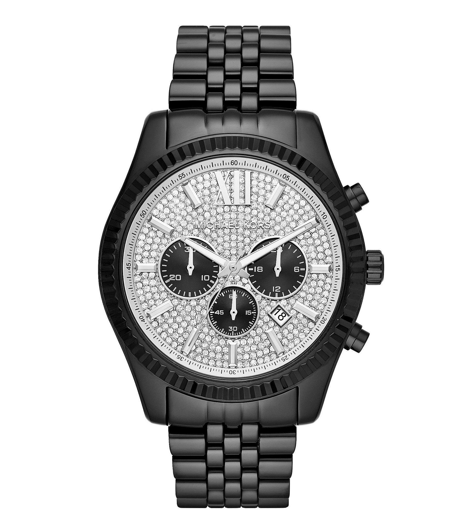 7c9a50a10e10 Lyst - Michael Kors Men s Lexington Black Ip Watch in Black for Men