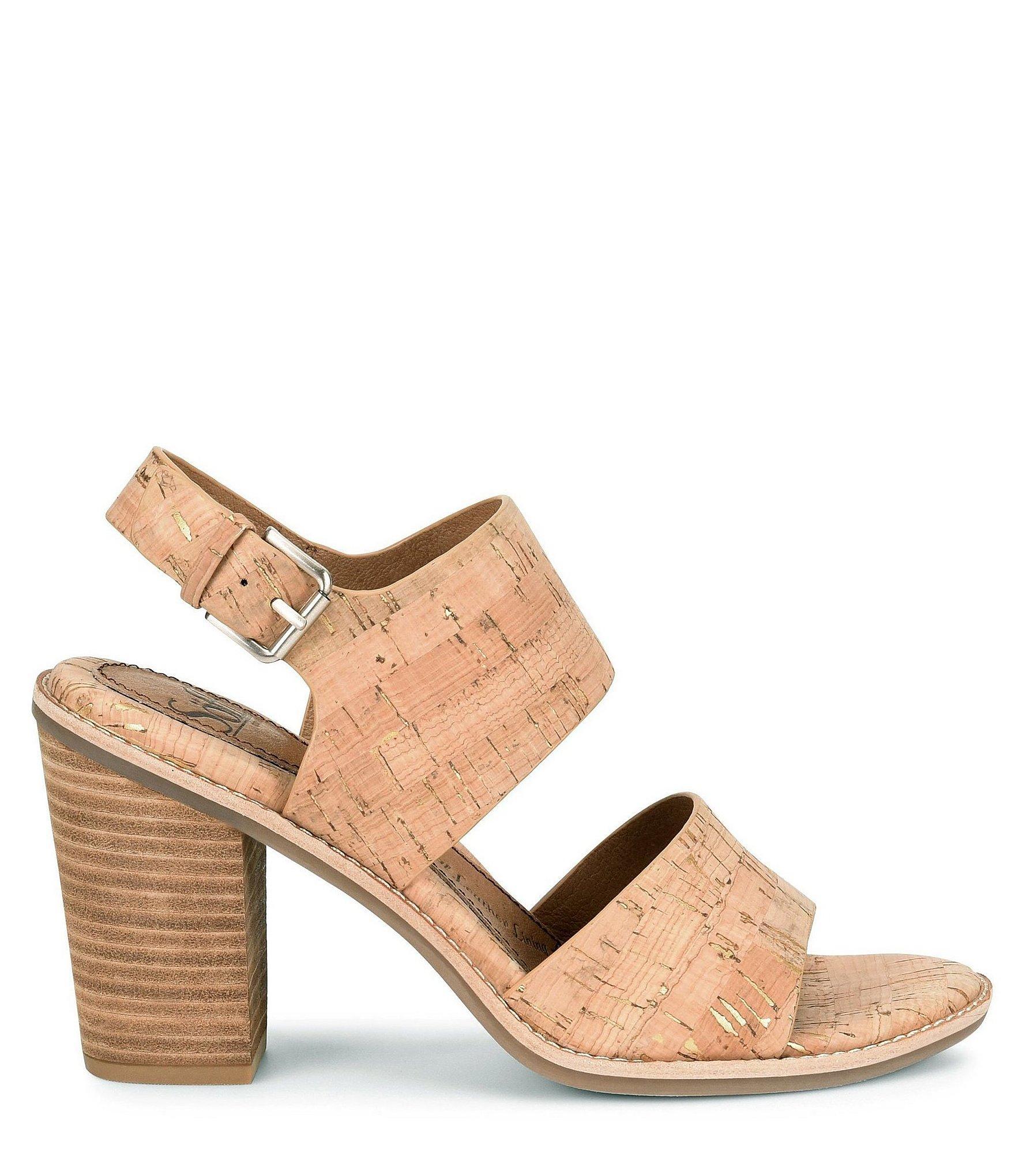 be7f383d06d Lyst - Söfft Pierz Cork Block Heel Sandals in Metallic