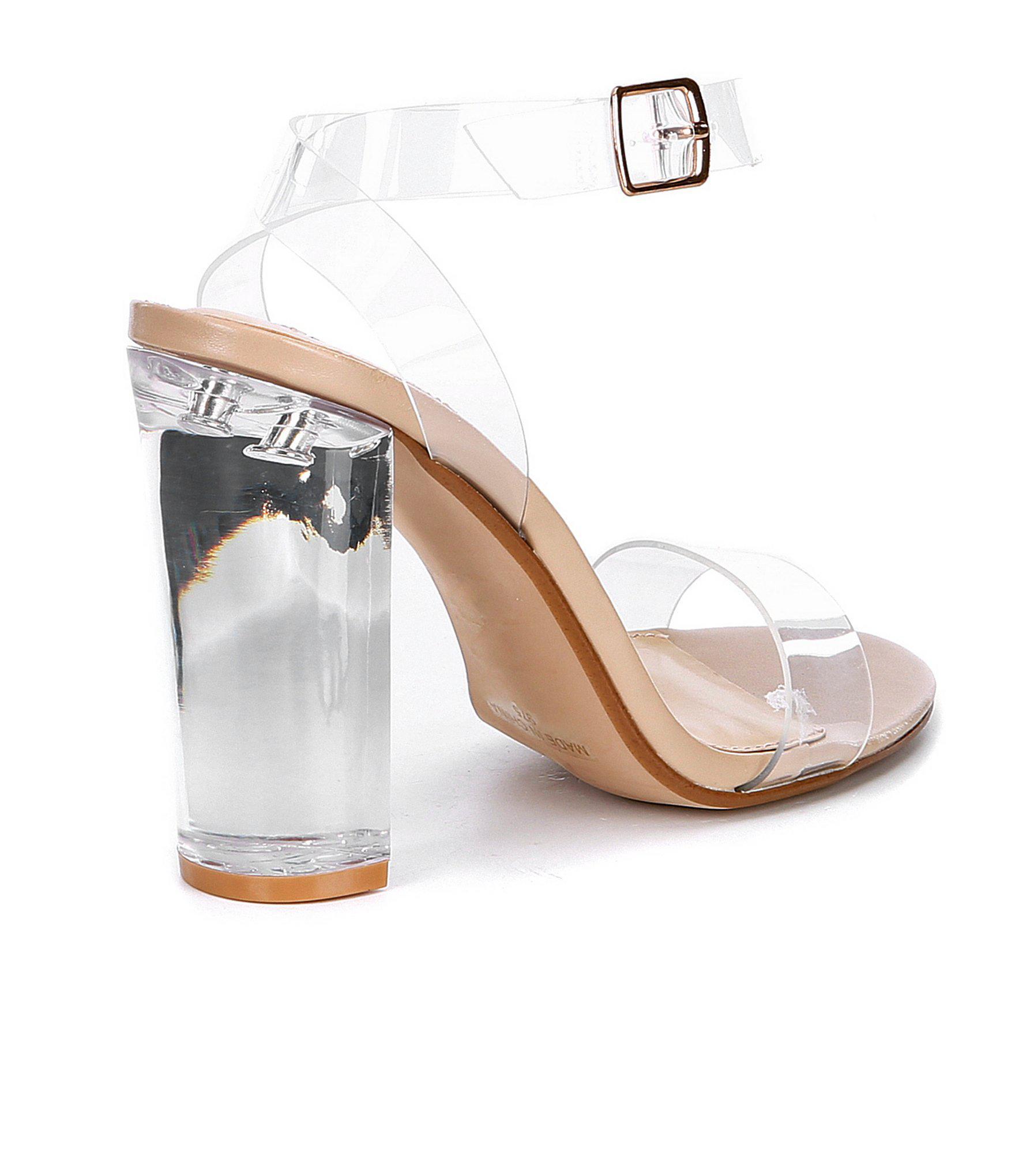 9a902870de7 Steve Madden - Multicolor Camille Lucite Clear Block Heel Dress Sandals -  Lyst. View fullscreen