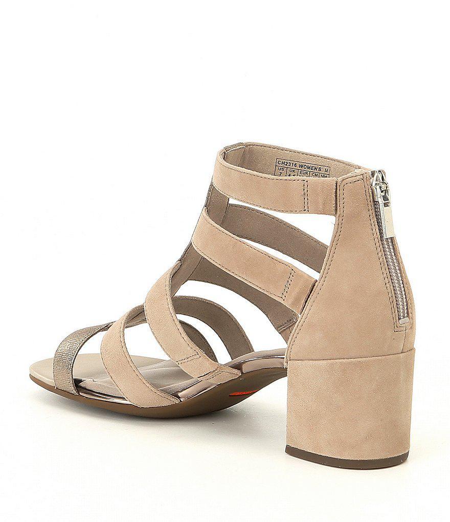 Alaina Luxe Caged Suede Block Heel Sandals 91ZZfk