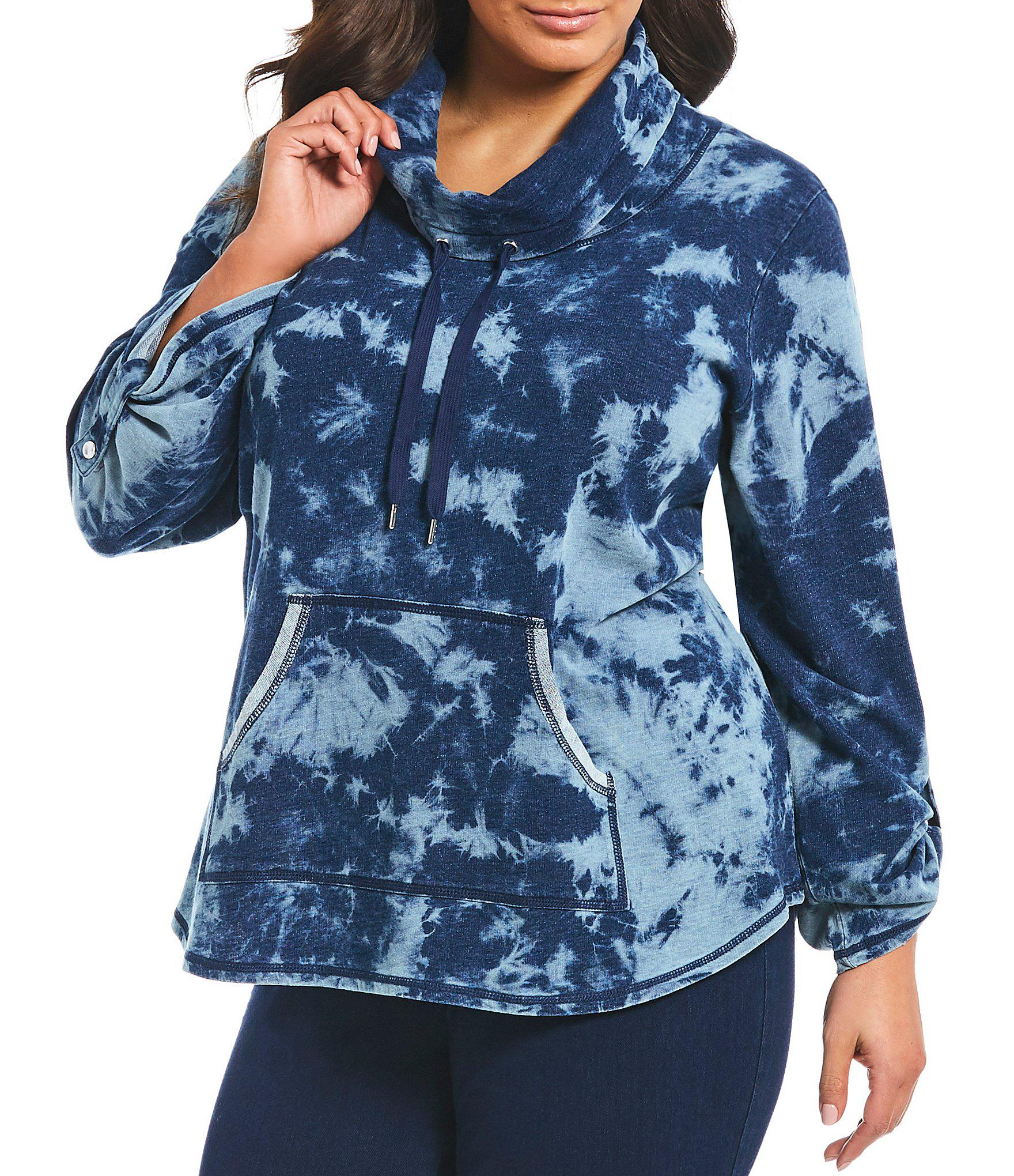 f28a2e2babb5f Ruby Rd. Women s Blue Plus Size Cowl Neck Tie Dye Indigo French Terry  Pullover