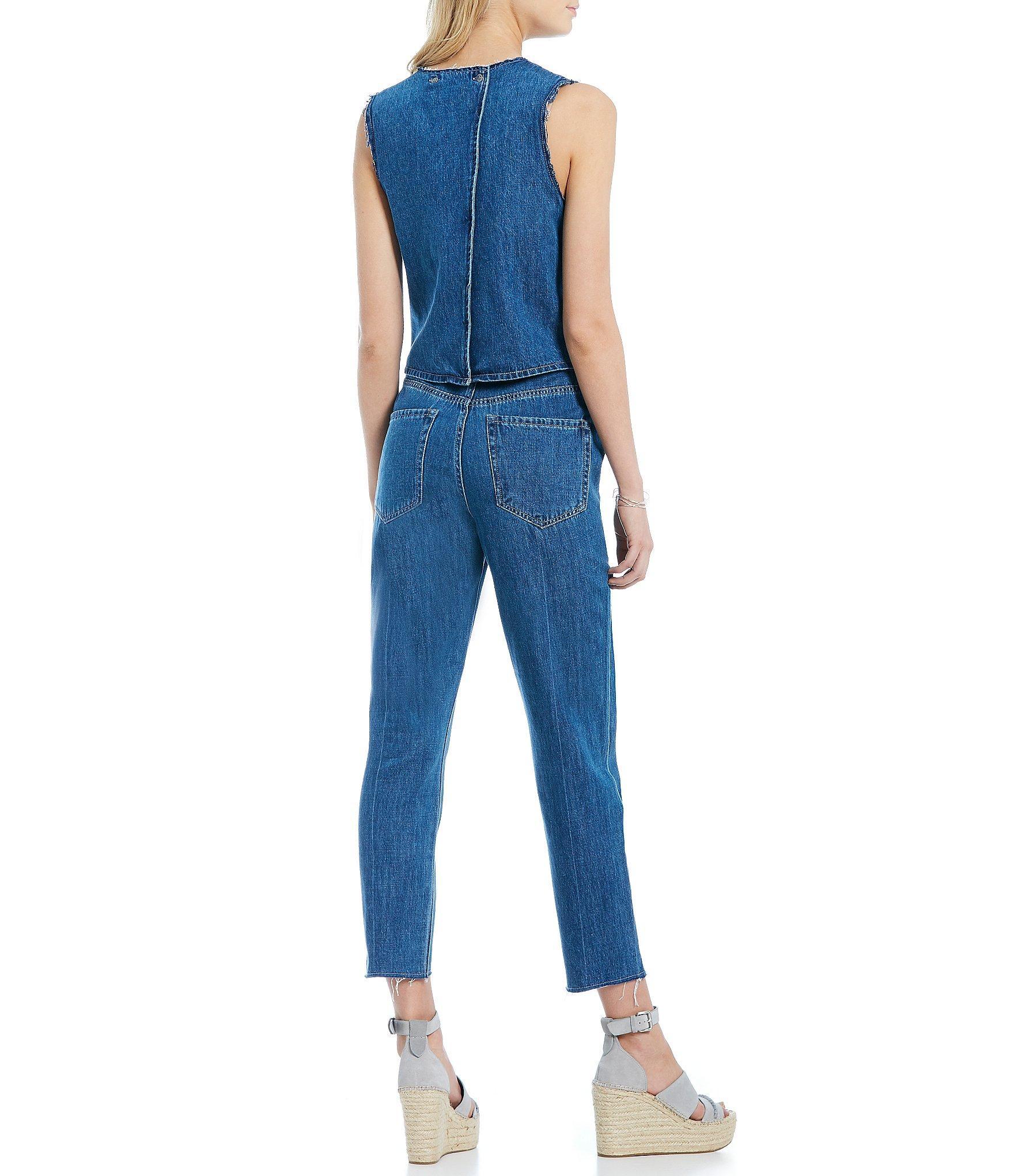 fdc24e10ef75 ... Blue Split Back Jumpsuit - Lyst. View fullscreen