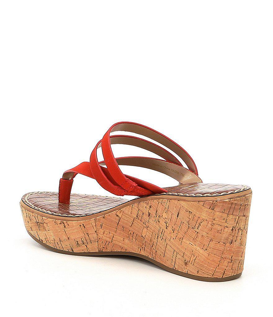 Rasha Nubuck Thong Wedge Sandals IC4xyM