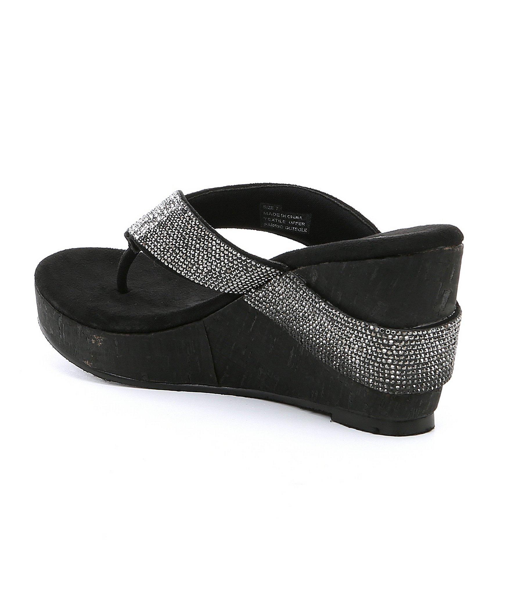 5c1e933494 Volatile - Black Cristina Rhinestone Cork-wedge Sandals - Lyst. View  fullscreen