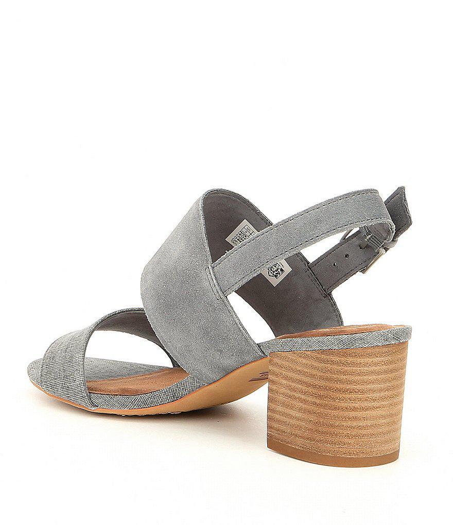 TOMS Poppy Suede and Textile Block Heel Sandals eZL4X4Q3Y5