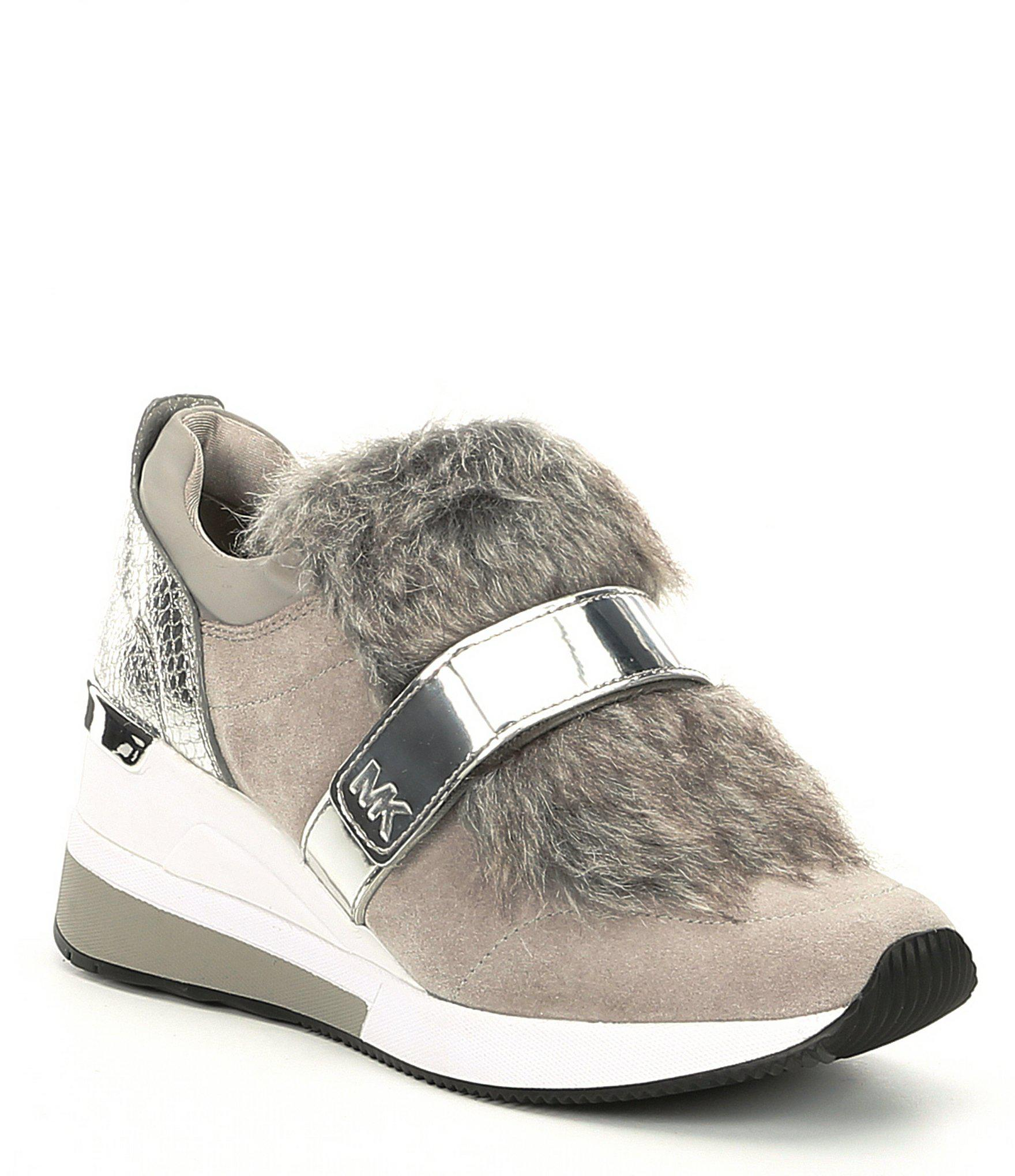 bc1f5dfdfa9 Lyst - MICHAEL Michael Kors Maven Faux Fur Trainer Sneakers in Gray