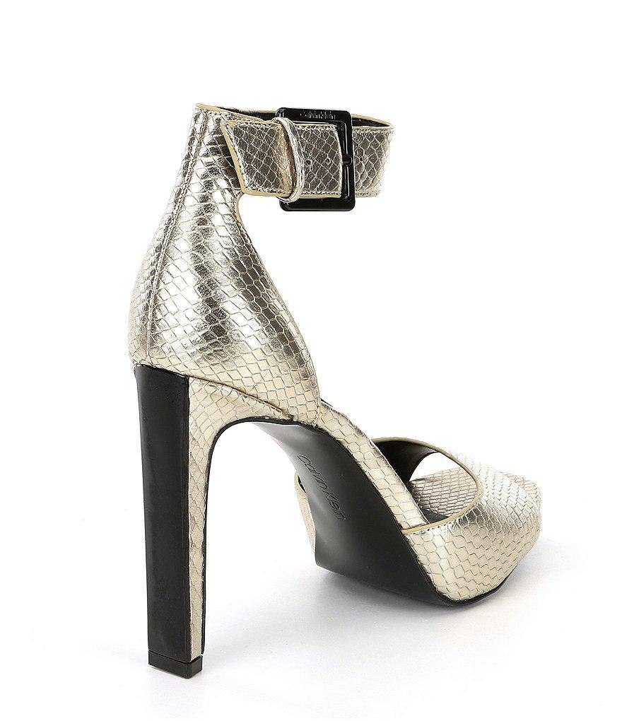 Marinda Metallic Snake Print Leather Dress Sandals b5IfMHWW