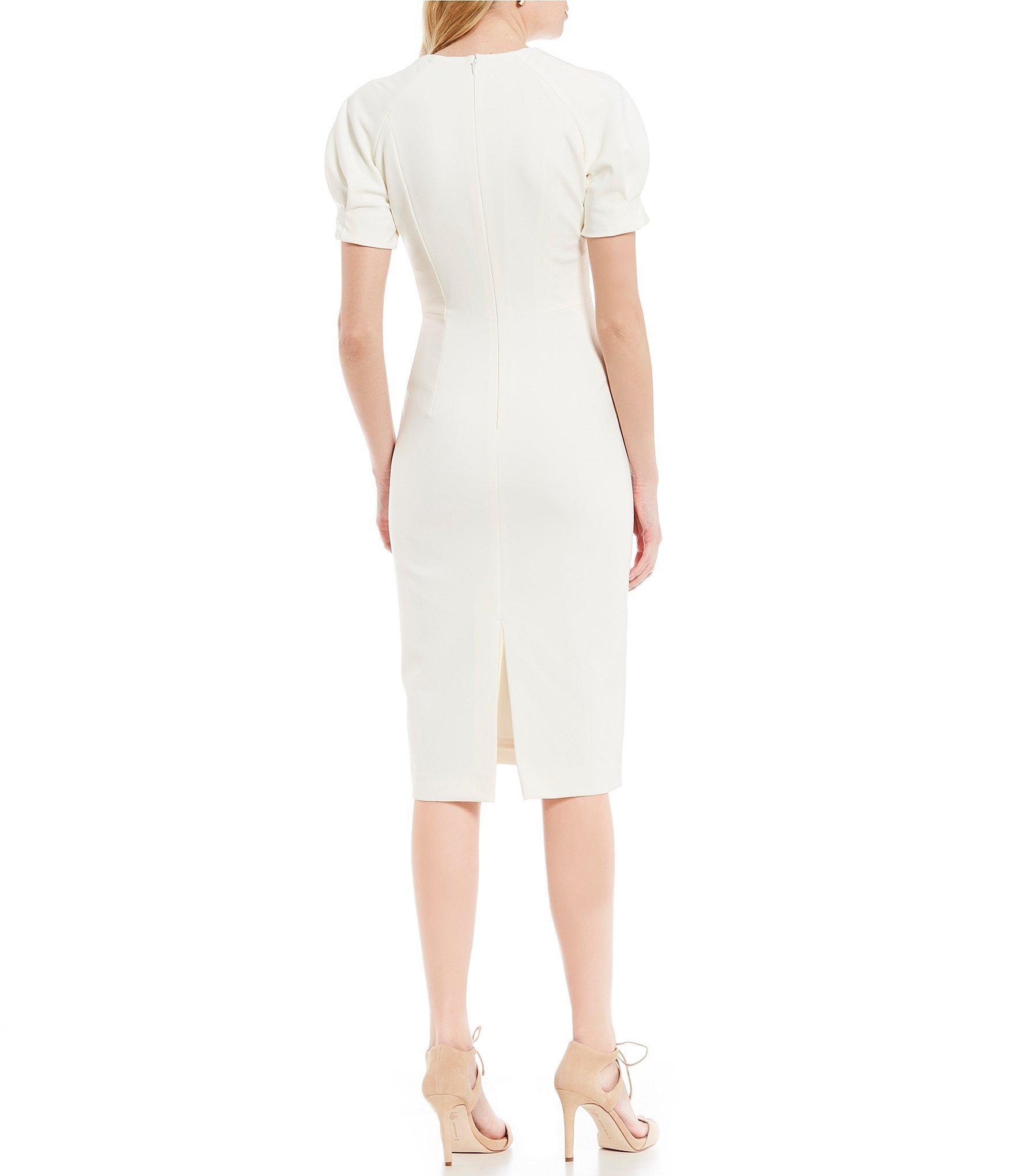 05877b11248a Antonio Melani - White Tania Short Puffy Sleeve V-neck Dress - Lyst. View  fullscreen