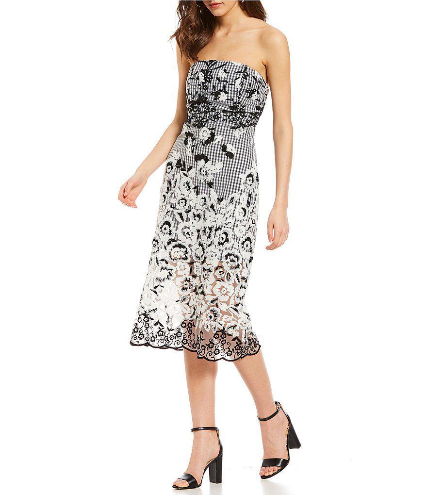 7f0bbb9e9 Lyst - Sam Edelman Strapless Embroidered Gingham Midi Dress in Black