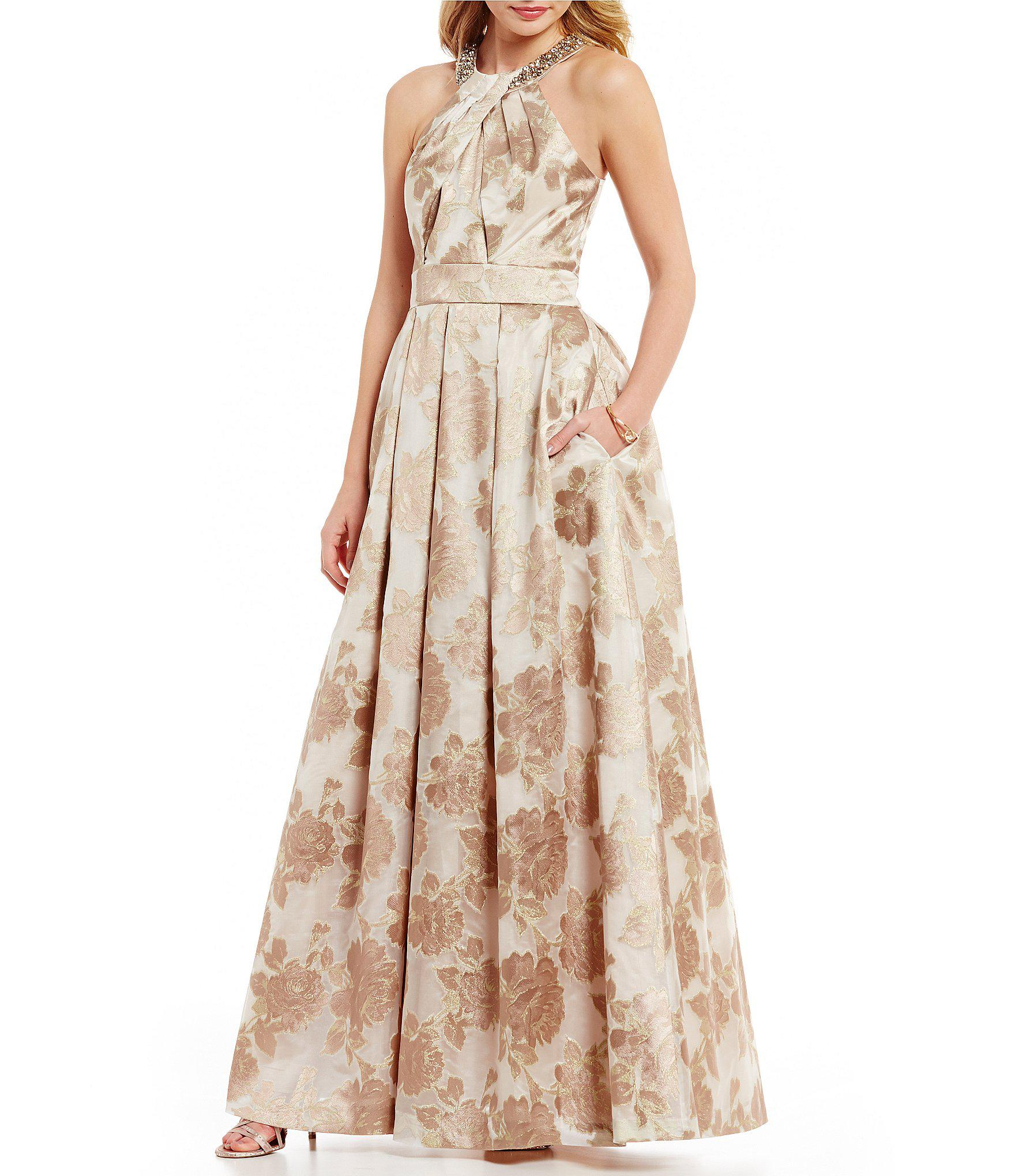 Lyst - Eliza J Beaded Halter Neck Floral Jacquard Ball Gown