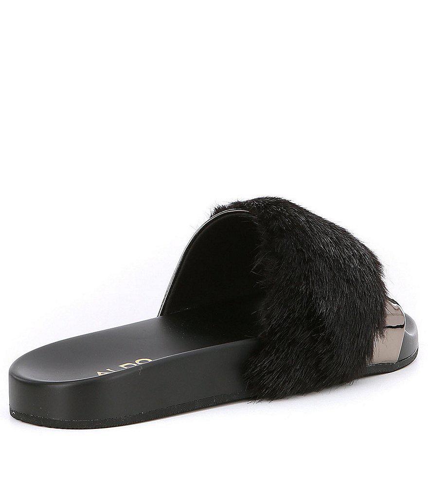 0dc6863a533b Lyst - ALDO Gotta Faux Fur Slide-on Sandals in Black