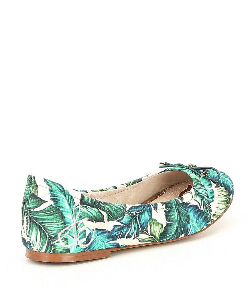 Felicia Palm Floral Print Flats AiGEdY5Cf