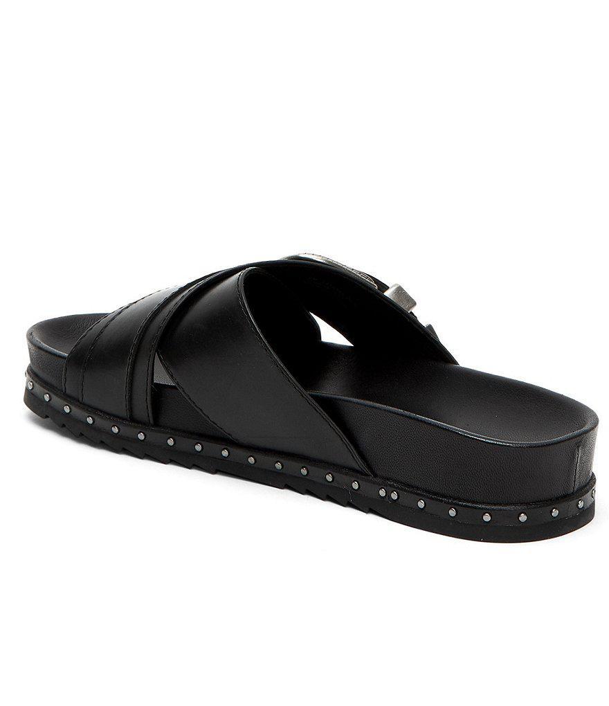 Frye Lily Western Buckle Criss Cross Slip-On Sandals GrOGd