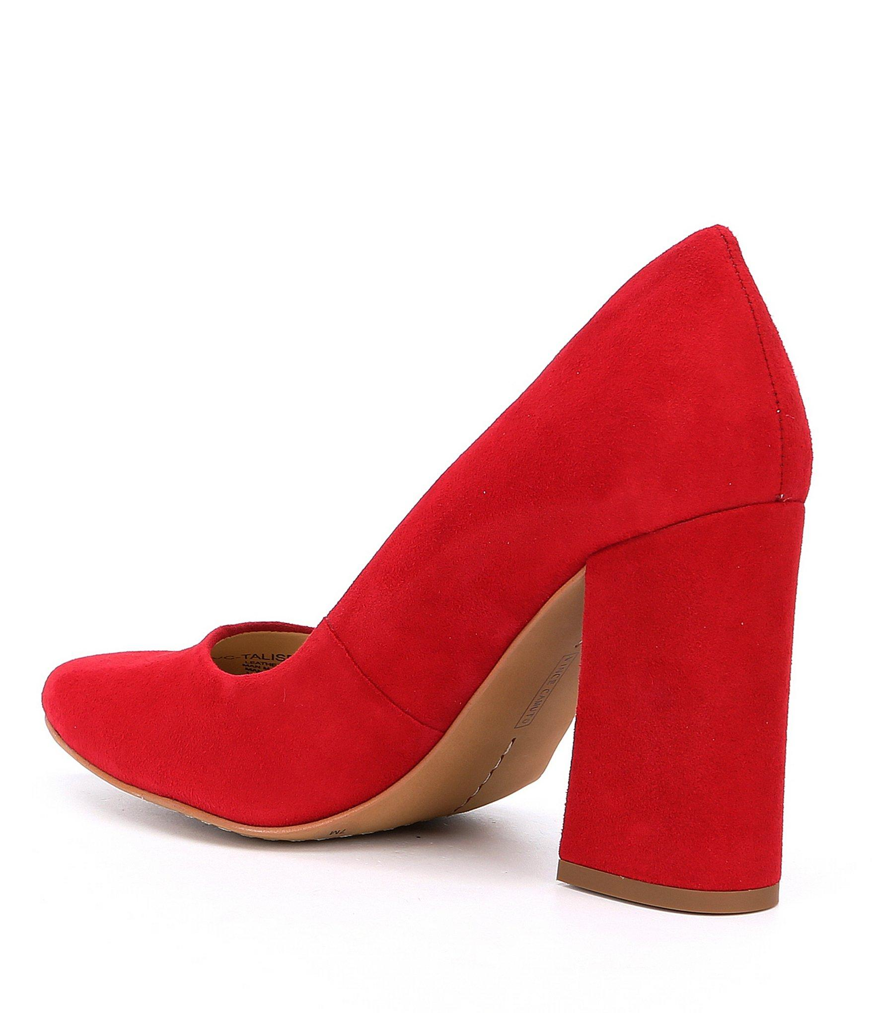 f08bcde1b Lyst - Vince Camuto Talise Nubuck Block Heel Pumps in Red