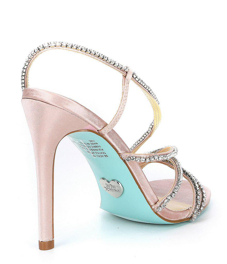 Betsey Johnson Blue by Betsey Johnson Aces Metallic Jeweled Satin Strappy Dress Sandals 1U05mO