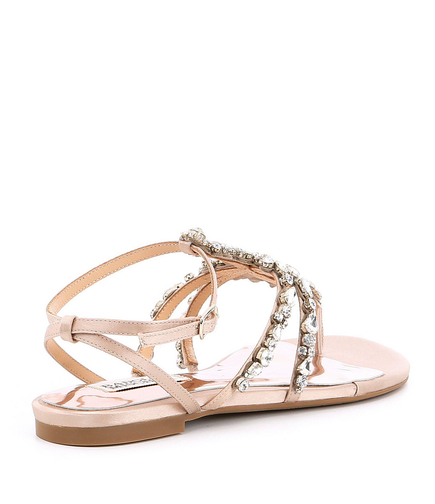 cb8003be8d155e Lyst - Badgley Mischka Hampden Satin Jeweled Ankle Strap Sandals