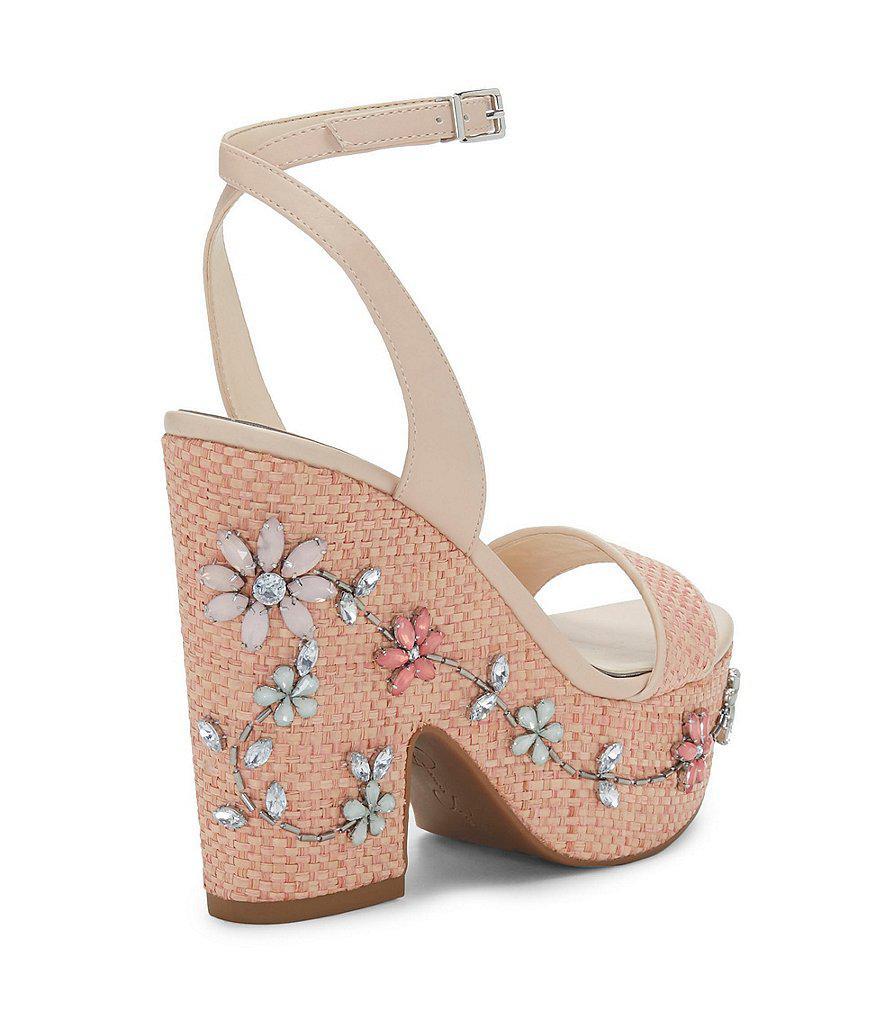 Cressia Raffia Rhinestone Flowers Ornament Sandals El55G