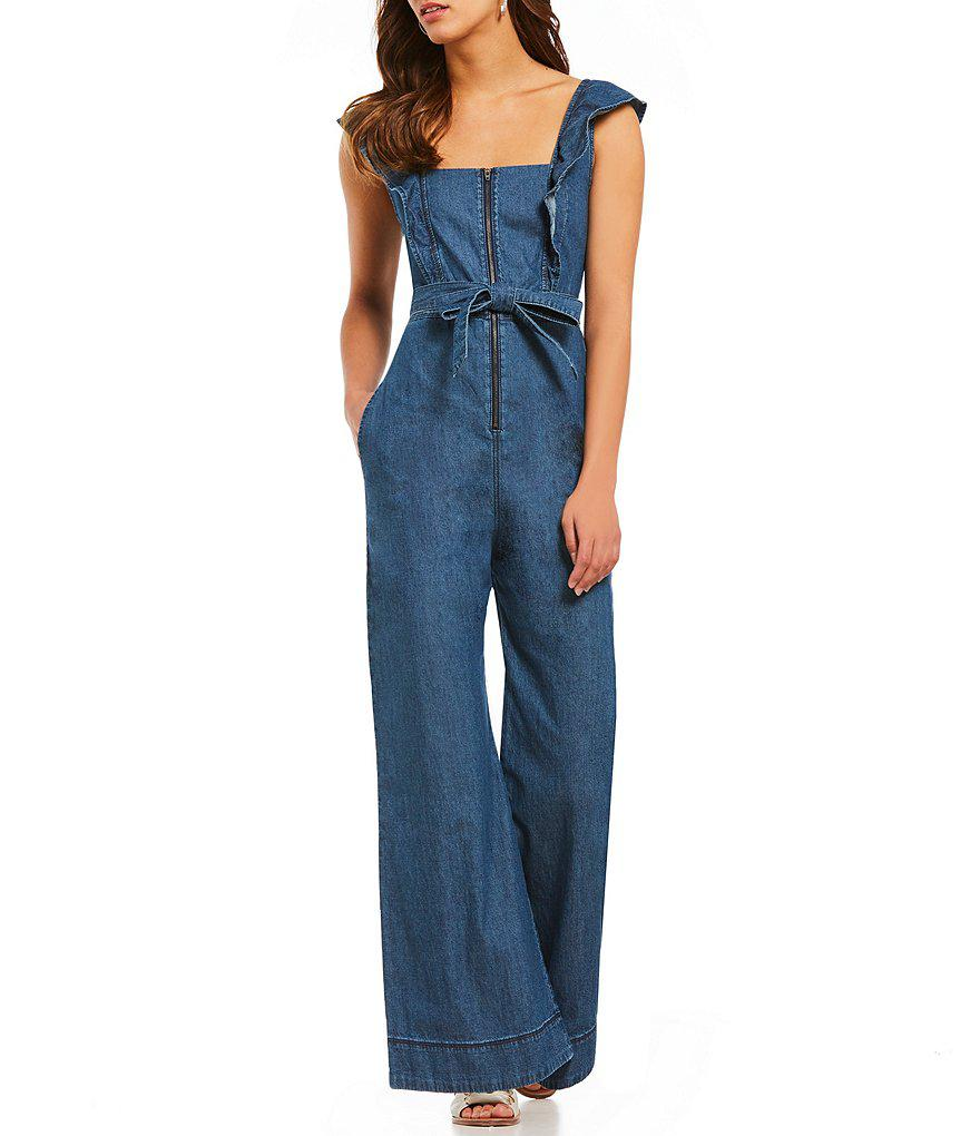 dc3c92893069 Lyst - Free People Sun Valley Ruffle Sleeve Tie Waist Jumpsuit in Blue