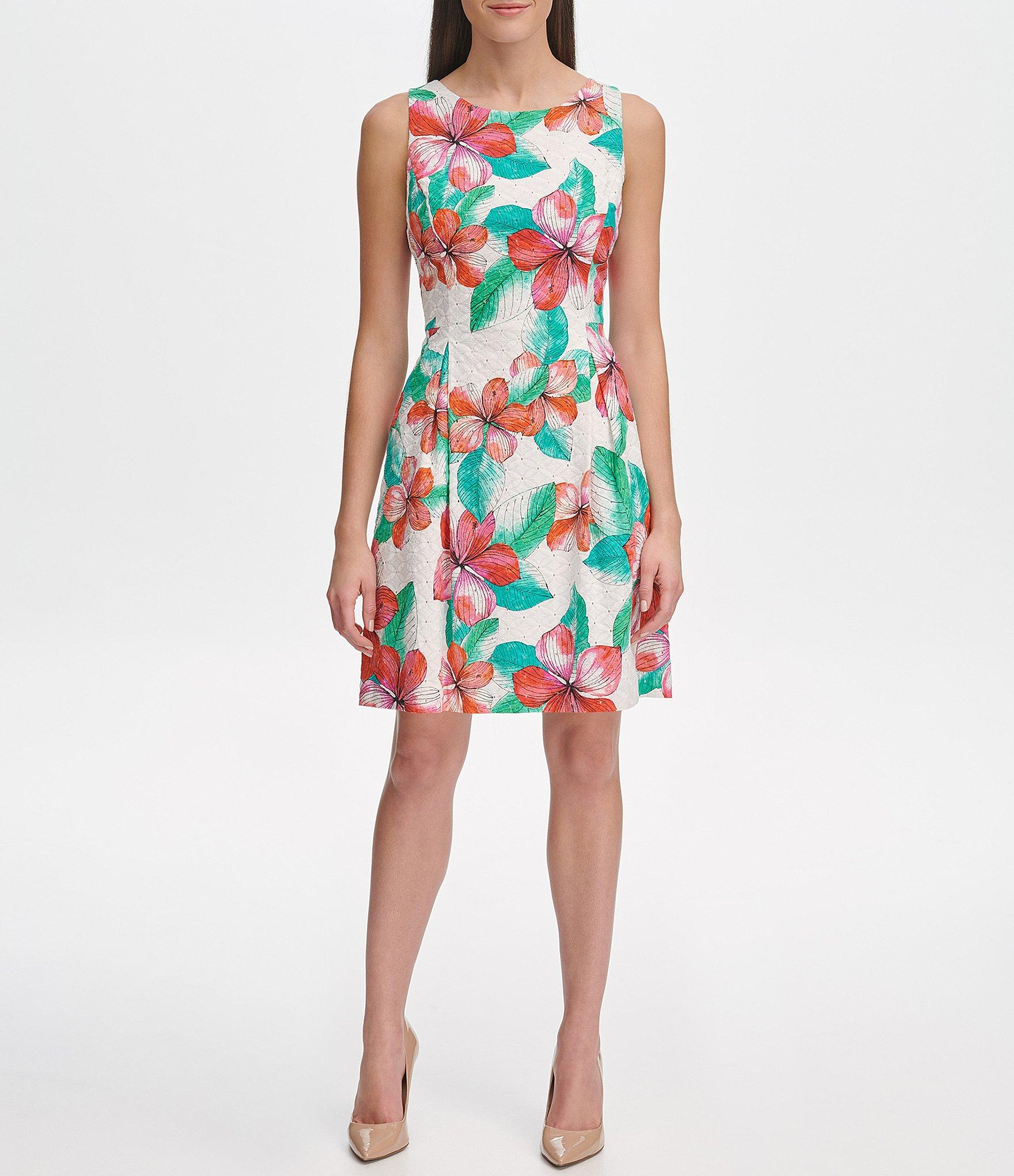 cb13fe672d7 Lyst - Tommy Hilfiger Eyelet Hibiscus Floral Print Fit & Flare Dress ...