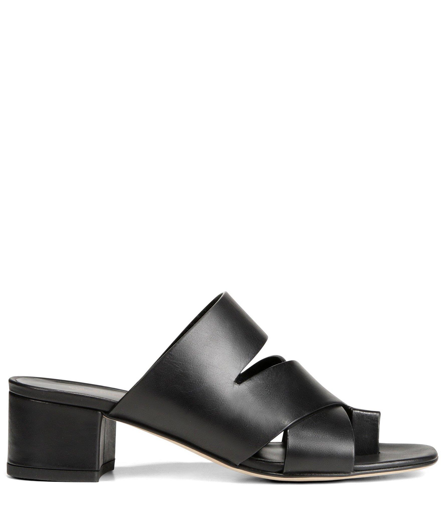 93de37d0628 Via Spiga - Black Women s Fae Leather Block Heel Sandals - Lyst. View  fullscreen
