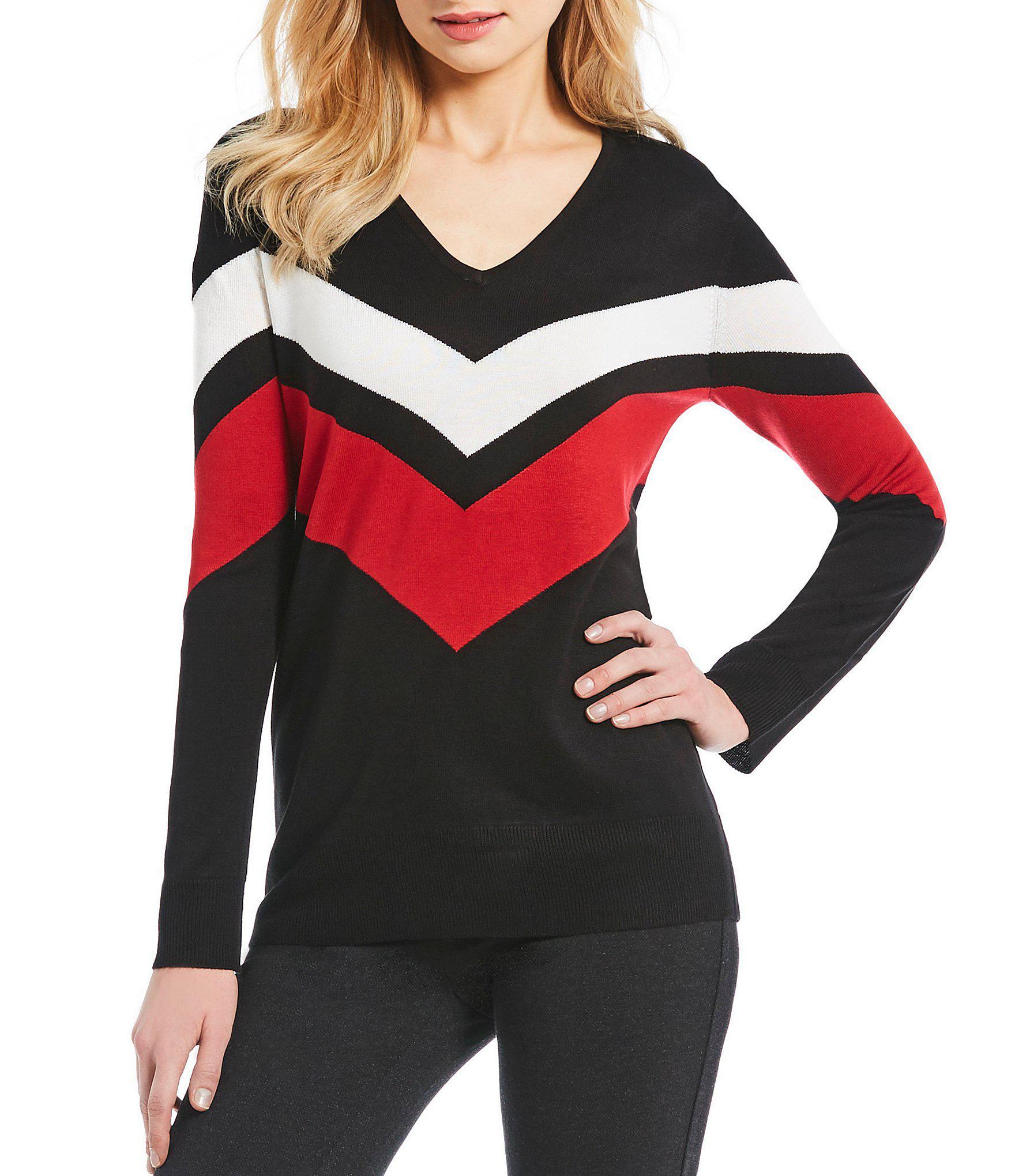 9c084148daf5e Calvin Klein. Women s V-neck Chevron Stripe Long Sleeve Fine Gauge Knit  Sweater